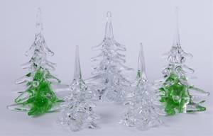 FM Ronneby Sweden Glass Trees Set of Five 5