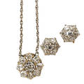 Antique cut diamond cluster necklace and earrings floriform cluster pendant and stud earrings platinum topped gold crown settings omc and oec diamonds approx 286 cts tw 14k wg chain 18 unm