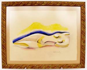 After Archipenko Nude Work on Paper