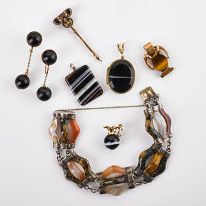 Celtic agate and other similar jewelry eight pieces celtic agate sterling link bracelet ca 1865 unmarked 6 12 restorations banded agate gf locket banded agate gold ewer charm banded aga