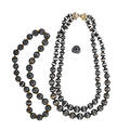 Banded agate necklaces and ring three pieces two strands of spherical beads 174  113 mm silver clasp shortest length 22 single strand of beads 162 mm 20 ring size 6 4817 gs gw