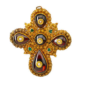 Yellow gold cannetille gemset cross brooch cannetille gold bezel set teardrop and circular foil backed garnets inset with seed pearls emerald accents late 19thearly 20th c later pin and bail on