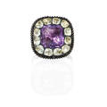 Georgian foil backed amethyst and paste ring cushion cut pink foil backed amethyst with clear faceted paste surround closed back on 10k rose gold hoop ca 1800 size 7 14 23 dwt