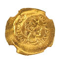 Ancient byzantine av tremissis coin