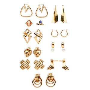 Nine pairs gold earrings and two gold rings eight pairs of earrings or ear pendants and a ring in 14k gold pair 18k gold and pearl earrings 10k gold cameo ring 20th c 332 dwt