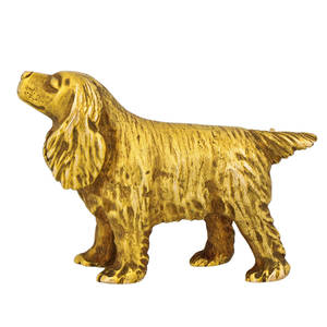 Cartier 14k yellow gold spaniel brooch cast and engraved spaniel in profile new york 20th c signed cartier 14k 1 12 x 1 84 dwt
