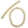 Bicolor 14k gold link necklace and bracelet plump hollow links last quarter 20th c both marked italy 585 14k necklace 15 12 bracelet 7 12 496 dwt