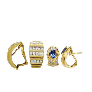 Tailored 18k yellow gold diamond earrings two pairs with diamond channels oval faceted tanzanites and diamonds tanzanites approx 155 cts tw diamonds approx 188 cts tw ca 1990 largest 34