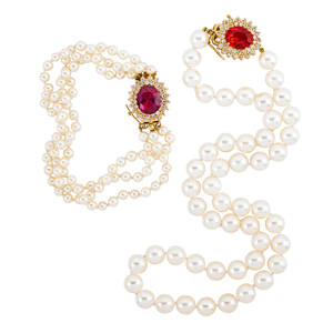 Cultured pearl diamond gold and gemset jewelry two pieces three strand pearl bracelet 409  384 mm with oval faceted synthetic pink sapphire and diamond cluster clasp 14k yg accommodates