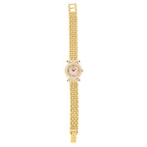 Tourneau ladies 14k gold diamond bracelet watch swiss quartz movement round mother of pearl dial with roman quarter hours diamond pave bezel and barrel lugs sapphire cabochon terminals ca 1990