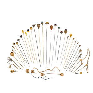 Thirtyseven antique hat pins stick pins fobs collection includes eight gold or partial gold hat pins some granulated some jeweled gems include opal amethyst agate pearl lapis agate some 1