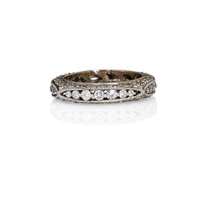 Diamond 18k white gold lace eternity band millegrained scalloped design rbc diamonds approx 134 cts tw ca 2010 marked 18k 750 size 5 14 28 dwt