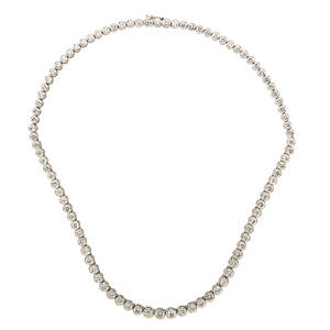 Diamond 18k white gold rivire necklace graduated bezel set rbc diamonds approx 11 cts tw italy ca 2000 marked 750 16 12 210 dwt