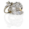 Four diamond and gold engagement rings oec diamond approx 15 ct in 18k wg open millegrained geometric setting emerald cut diamond approx 15 ct in 14k wg rectangular illusion setting fl