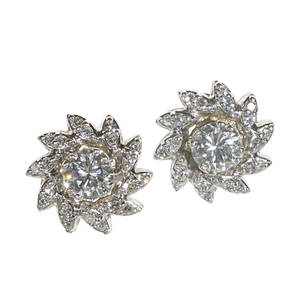Diamond 14k white gold floriform cluster earrings two rbc diamonds approx 120 cts tw and 40 single cut diamond accents approx 40 ct tw for pierced ears ca 1960 diamonds approx 17 cts