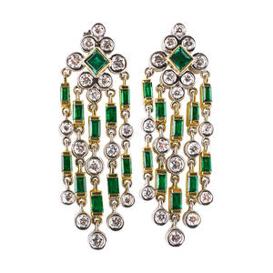 De hago diamond and emerald chandelier earrings bright square and baguette cut emeralds in 18k yg and rbc diamonds in 18k wg bezels diamonds approx 1 cts tw late 20th c marked dehago 18k 1 5