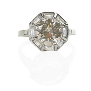 Art deco diamond platinum ring transitional cut diamond approx 245 cts octagonally framed by eight baguette cut diamonds approx 75 ct tw ca 1938 marked plat size 6 34 dwt