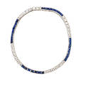 Diamond and sapphire platinum line bracelet lines of square set transitional cut diamonds approx 196 cts tw alternate with lines of rectangular step cut sapphires approx 196 cts tw safety c