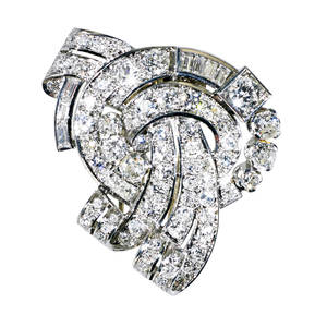 French diamond platinum fur clip dimensional cluster of ribbons and volutes rbc and baguette cut diamonds approx 360 cts tw ca 1948 french control marks for platinum and 18k wg hinged double