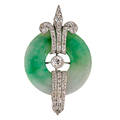 French art deco jadeite and diamond platinum jewel oec diamond approx 33 ct centers 1 jadeite ring strapped by diamond platinum trefoil ca 1925 french marks for platinum later white gold br