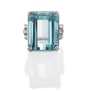 Aquamarine and diamond 14k white gold ring step cut aquamarine approx 257 cts by formula flanked by six rbc diamonds approx 45 ct tw throughout in 14k wg setting ca 1945 size 5 34 95