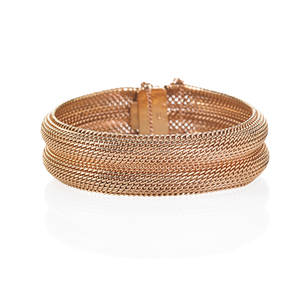 Woven 14k pink gold bracelet woven convex form accommodates 7 ca 1940 marked 585 with european control marks 289 dwt