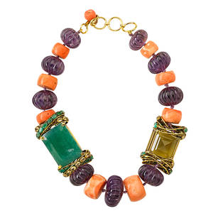 Massive coral and gemstone necklace by iradj moini nine irregular drum shaped coral beads 26 x 17  1266 x 73 mm nine melon shaped amethyst beads faceted green quartz and aventurine in gilt met