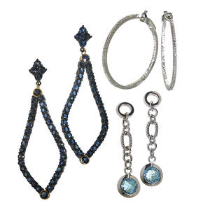 Three pairs of recent gemset earrings meredith marks brooks earrings with approx 1123 cts blue sapphires set in oxidized silver 18k yellow gold detachable drop 2 34 18k white gold inside