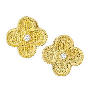 18k yellow gold diamond quatrefoil earrings textured with roped edge two rbc diamonds approx 24 ct tw in the style of van cleef  arpels alhambra clip backs for unpierced ears 21st c marke