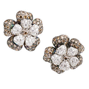 Fancy and colorless diamond 18k flower earrings champagne diamonds on patinated petals colorless diamonds on white petals approx 430 cts tw hinged backs for pierced ears ca 2000 marked 18k
