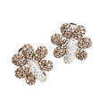 Chatila champagne and colorless diamond earrings 18k wg floriform clips for pierced ears round brilliant cut diamonds approx 5 cts tw ca 2000 1 114 dwt