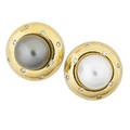 Contrasting pearl and diamond gold earrings button shaped with burnished diamonds set with cultured saltwater pearls grey pearl 119 mm white pearl 115 mm post backs for pierced ears ca 1990