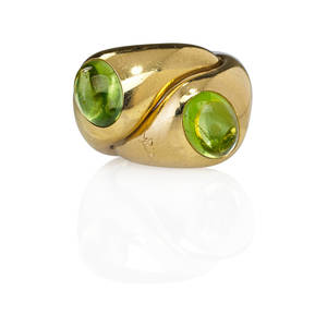 Pomellato italy peridot 18k gold twin rings rolling pair of gypsy style rings ca 2000 marked 489 mm pomellato 750 size 6 127 dwt
