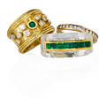 Three yellow gold diamond or emerald rings carved rock crystal with inlaid yg channel of calibre cut emeralds 18k yg roped band ring with bezel set emerald and rbc diamonds approx 62 ct tw 14k