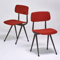 Friso kramer knoll pair of side chairs new york 1950s enameled steel upholstery unmarked 32 x 17 12 x 18