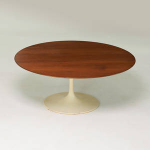 Eero saarinen knoll associates tulip coffee table new york 1960s painted metal walnut unmarked 15 x 36 dia