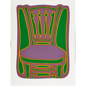 Clayton pond american b 1941 screenprint in colors on paper chair1980 signed dated and numbered a 54100 26 x 20 sheet