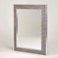 Contemporary large mirror usa 2000s polished aluminum printed hide beveled mirrored glass 60 x 49 x 3