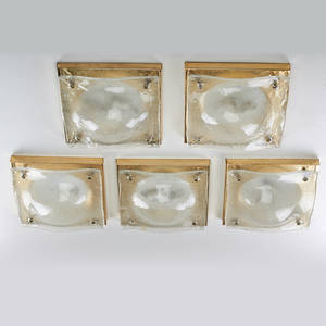 Contemporary lighting five glass and brass plated wall sconces mid20th c unmarked 12 x 12 x 5