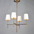 Thomas obrien visual comfort bryant fourlight chandelier 1990s brass paper shades marked to ceiling cap 35 x 22 12