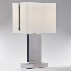 Modern table lamp usa 1970s polished aluminum opaque lucite unmarked 26 14 x 14 34 x 9 34