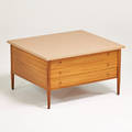 Paul mccobb h sacks  sons connoisseur collection side table usa 1950s mahogany marble brass brass label 18 14 x 32 x 28