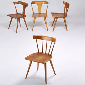Paul mccobb winchendon four side chairs usa 1950s sculpted birch unmarked 30 x 20 12 x 20