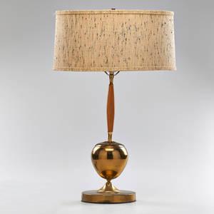 Modern table lamp usa 1970s birch brass linen shade unmarked 25 12 x 16
