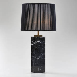 Th robsjohngibbings hansen black marble table lamp with contemporary shade usa 1960s brass fittings unmarked 23 x 12
