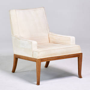 Th robsjohngibbings baker lounge chair usa 1960s sculpted walnut upholstery unmarked 33 x 26 12 x 32