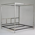 Pace kingsized four poster bed 1970s chromed and enameled steel unmarked 84 x 81 12 x 80