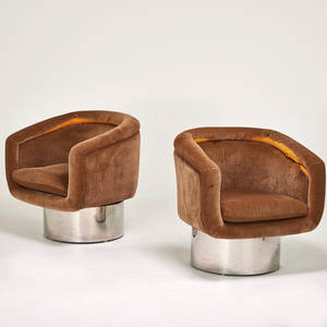 The pace collection pair swivel lounge chairs new york 1970s chromed steel upholstery manufacturers labels 31 12 x 31 x 28