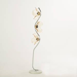 Italian floor lamp 1970s chromed steel marble amber glass 59 x 12 dia at base