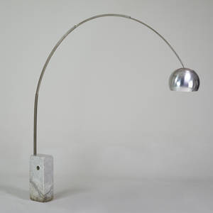 Achille and pierre giacomo castiglioni flos arco adjustable floor lamp italy 1970s marble stainless steel polished and painted aluminum unmarked 95 x 82 x 13